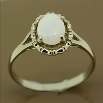 Solid Opal ring set in sterling silver