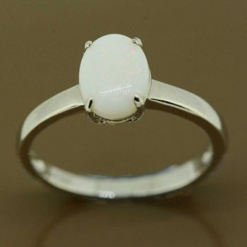 Sterling silver solid opal ring (8x6)