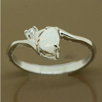 Sterling silver solid opal tear drop opal ring