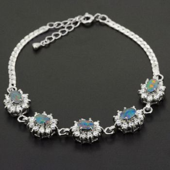 Sterling Silver Triplet Opal Bracelet set with Crystals