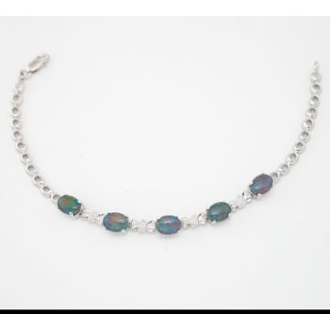 Claw Set Sterling Silver Triplet Opal Bracelet
