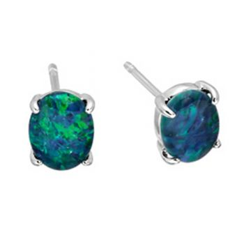 Oval Sterling Silver Claw Set Triplet Opal Earrings (8x6)