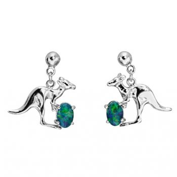 Sterling silver triplet opal kangaroo earrings
