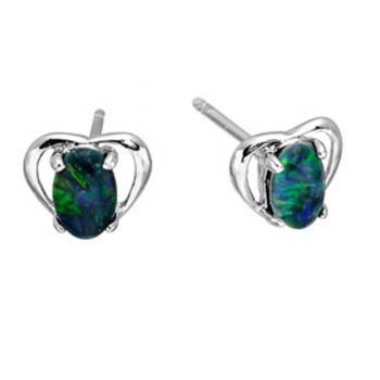 Sterling silver heart shaped triplet opal earrings