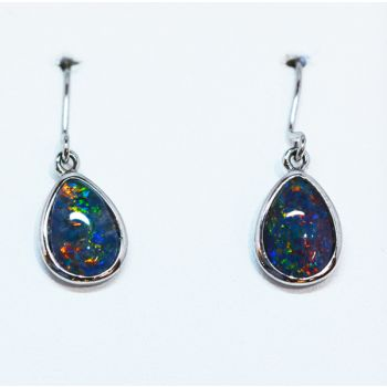 Sterling Silver Tear Drop Triplet Opal Earrings (10x7)