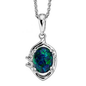 STERLING SILVER CLAW SET TRIPLET OPAL 9MM X 7MM, PENDANT WITH 2 CRYSTALS