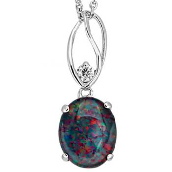 TRIPLET OPAL 11MM X 8MM, SET IN A STERLING SILVER PENDANT