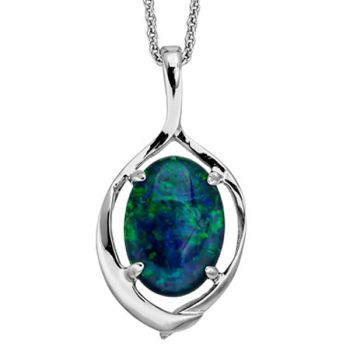 STERLING SILVER CLAW SET TRIPLET OPAL 14MM X 10MM, PENDANT