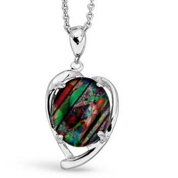 STERLING SILVER TRIPLET OPAL HEART SHAPED PENDANT