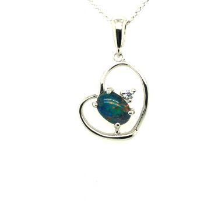 Sterling Silver Triplet Opal Heart Pendant (7x5)
