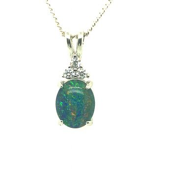 Sterling Silver Claw Set Triplet Opal, Pendant set with three crystals