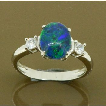 LADIES STERLING SILVER TRIPLET OPAL RING