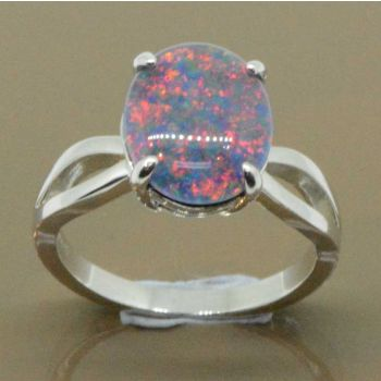 Sterling silver triplet opal ring 12mmx10mm