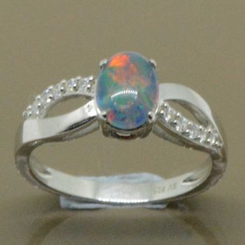 Sterling silver 8mmx6mm triplet opal ring