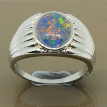 Mens sterling silver triplet opal ring