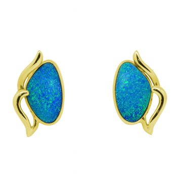 14ct Doublet Opal Gold Earrings