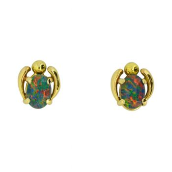 Triplet Opal 14ct Gold Earrings
