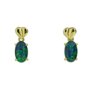 9ct Yellow Gold Oval Triplet Opal Earrings