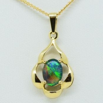 14ct Yellow Gold Triplet Opal Pendant