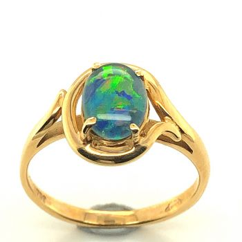 18ct Yellow Gold Triplet Opal Ring