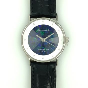 Pierre Cardin Ladies Silver Plated Leather Band Opal Face Watch