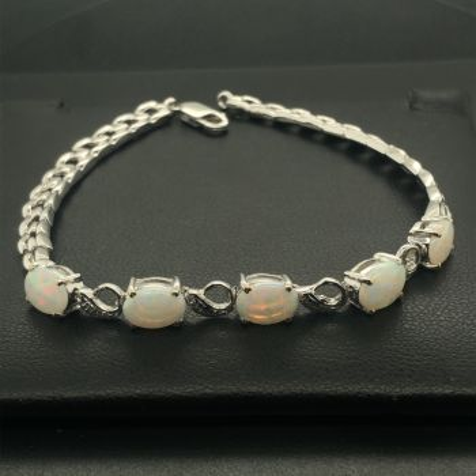 Solid Opal 18ct White Gold Bracelet