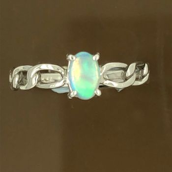 Solid Opal Ring set in 18ct White Gold (6mmx4mm)