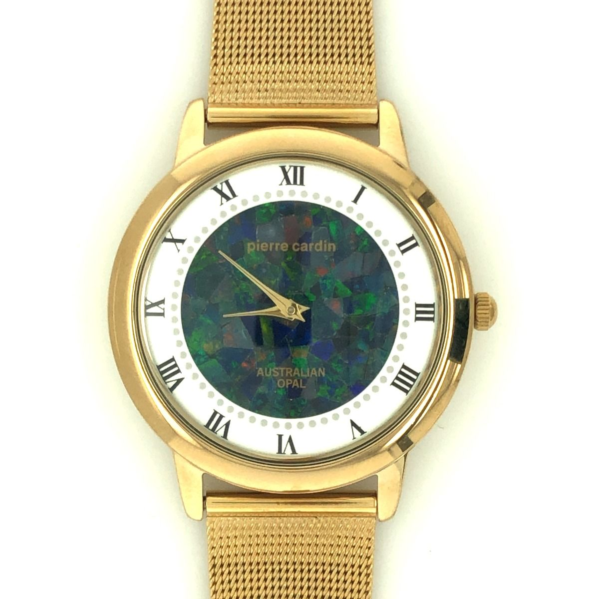 Gold Plated Pierre Cardin Ladies Opal Watch with mesh band