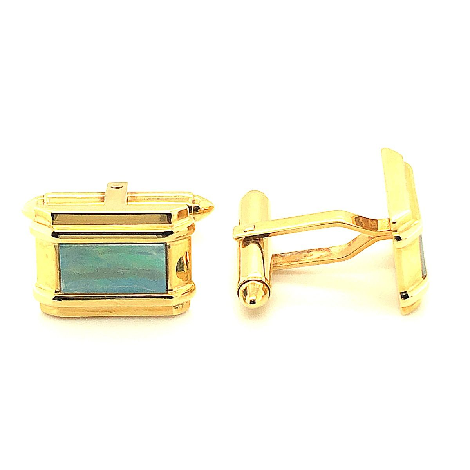 18ct gold solid opal cufflinks