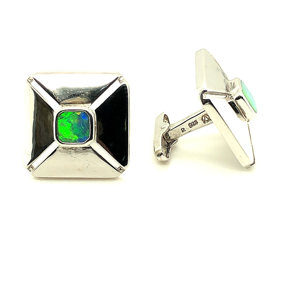 Square Shaped Sterling Silver Inlaid Opal Cufflinks
