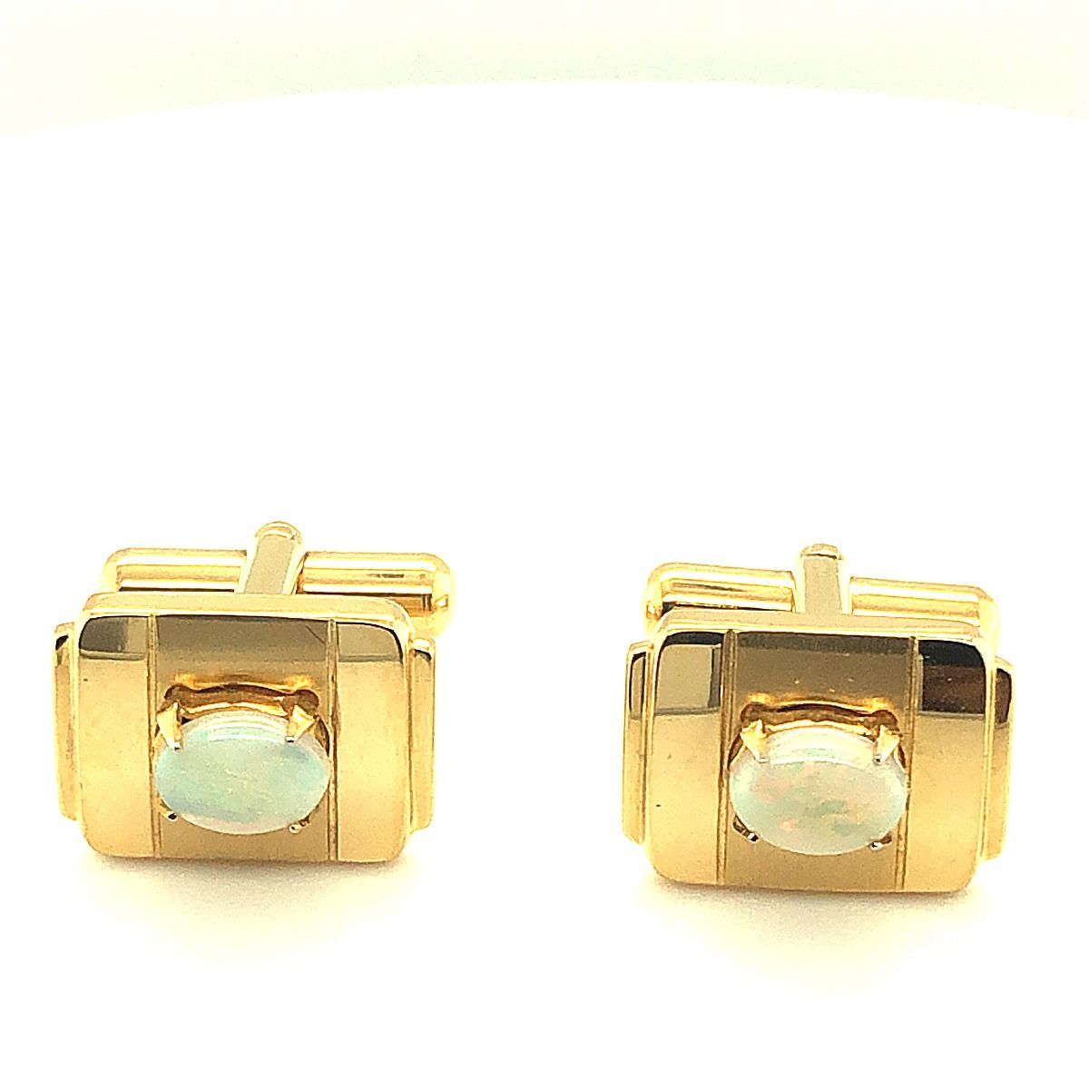 Gold Plated Solid Opal Cufflinks