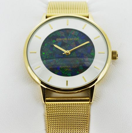 Men S Pierre Cardin Gold Plated Opal Face Watch