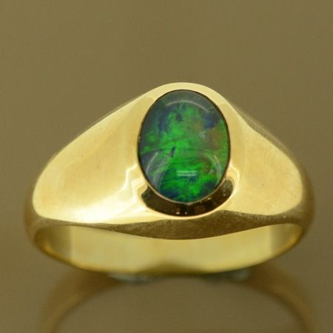 9ct yellow gold men's triplet opal ring