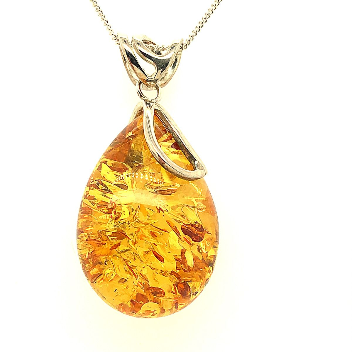 Sterling Silver Amber Pendant  (48mmx24mm)