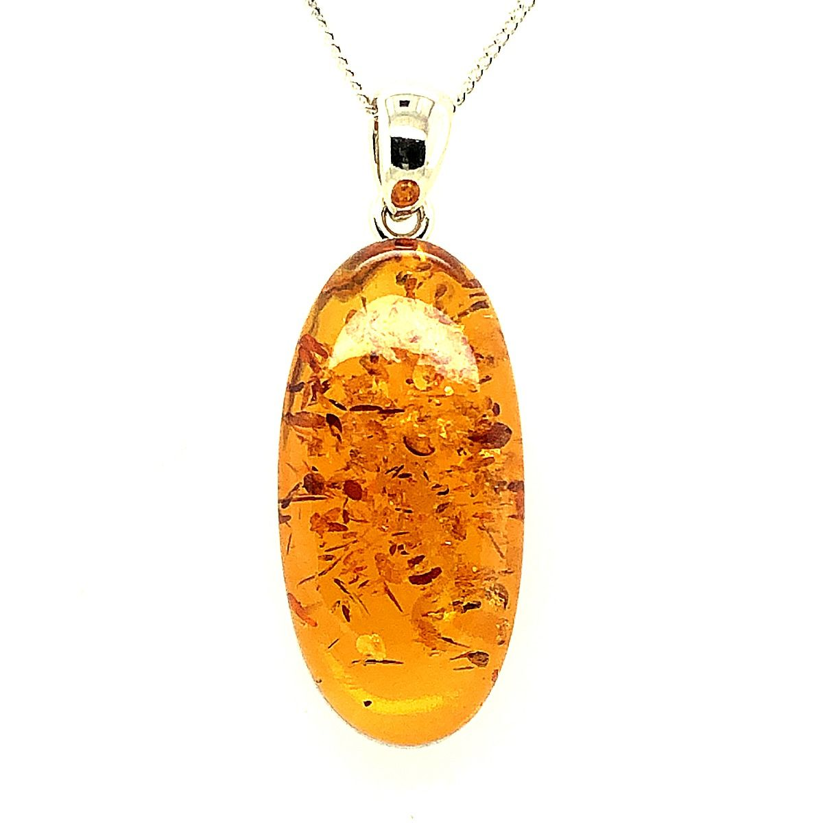 Sterling Silver Amber Pendant  (43mmx16mm)