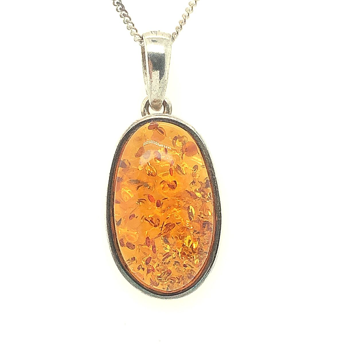 Sterling Silver Amber Pendant  (39mmx17mm)