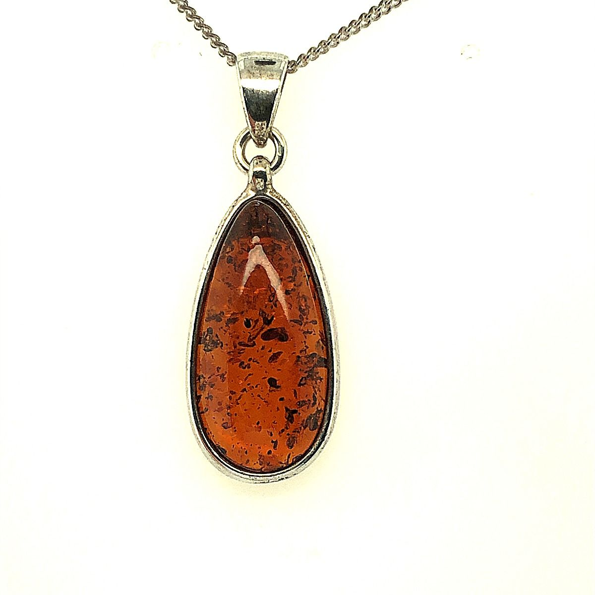 Sterling Silver Amber Pendant  (33mmx12mm)