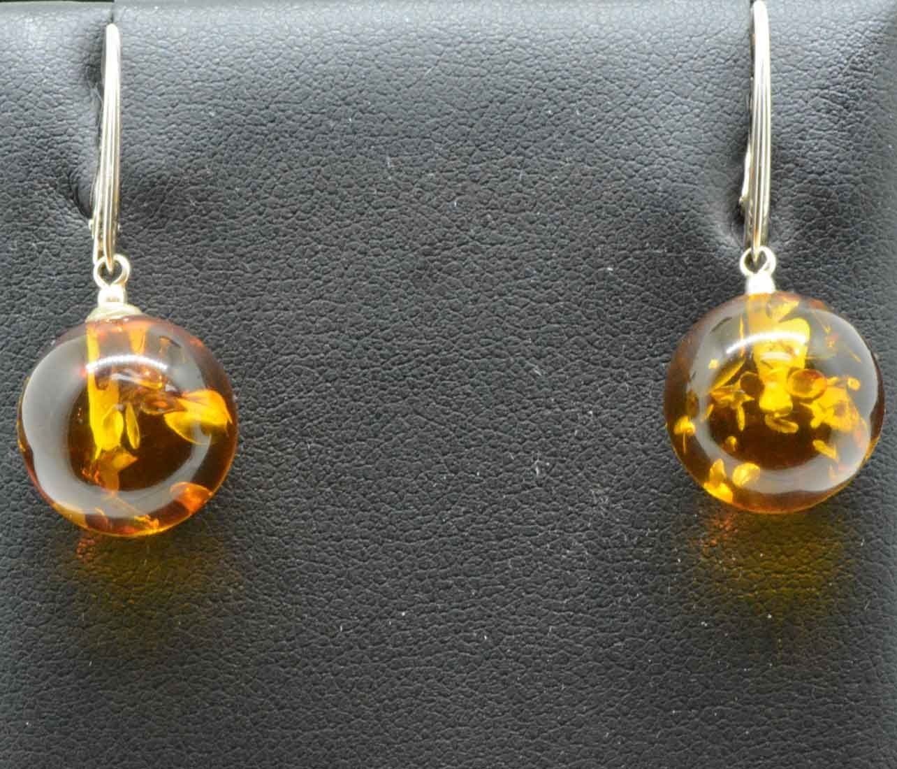 Sterling Silver Round Amber Earrings