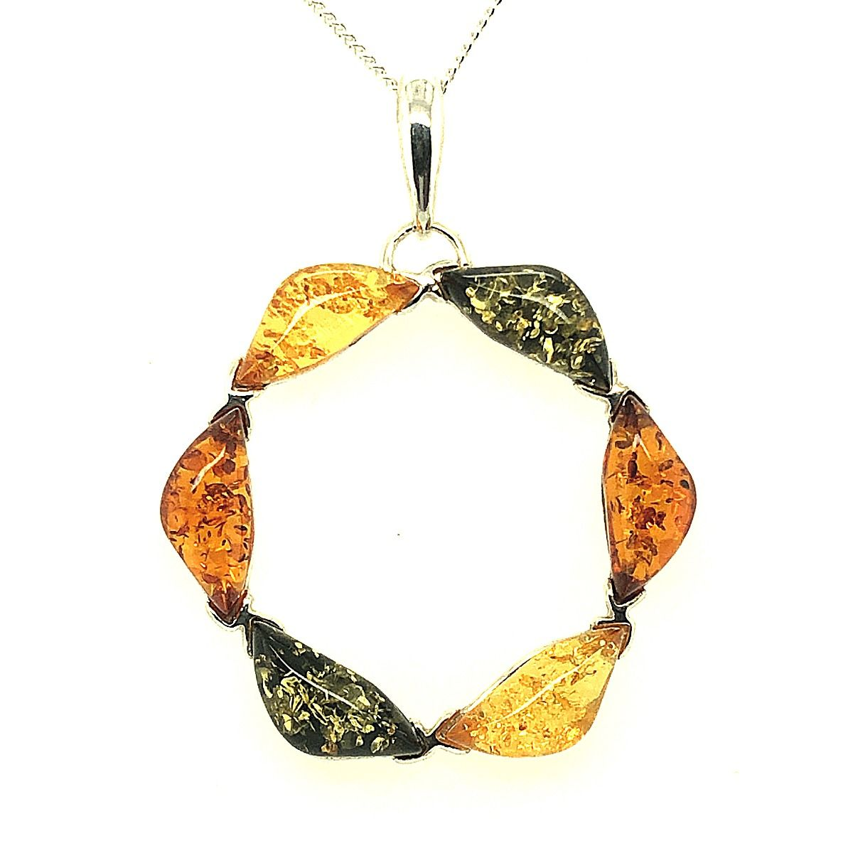 Sterling Silver Circle of Life Amber Pendant