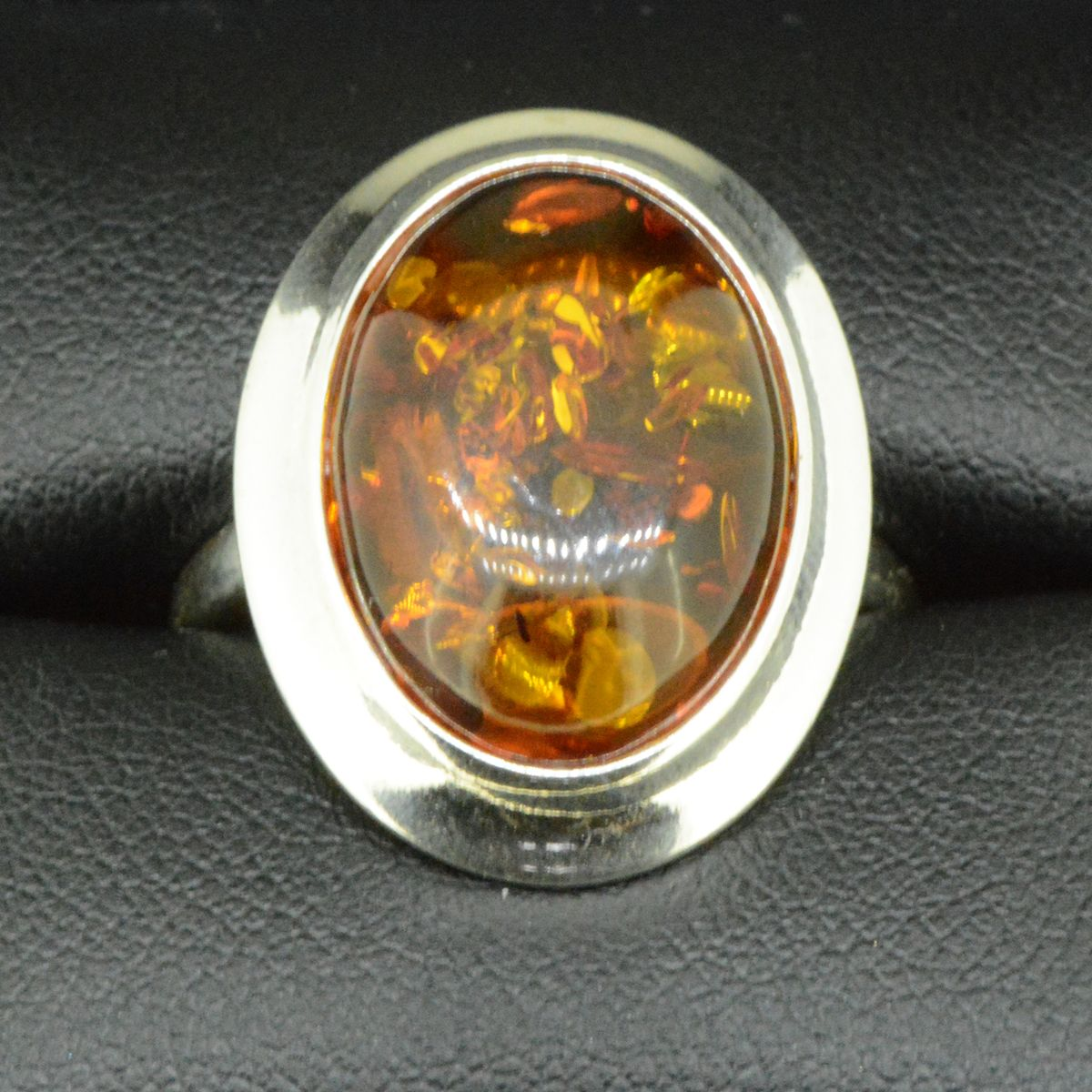 Sterling Silver Amber Ring (18x13)