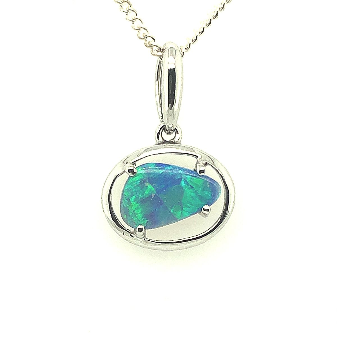 Sterling Silver Triangular Black Opal Pendant