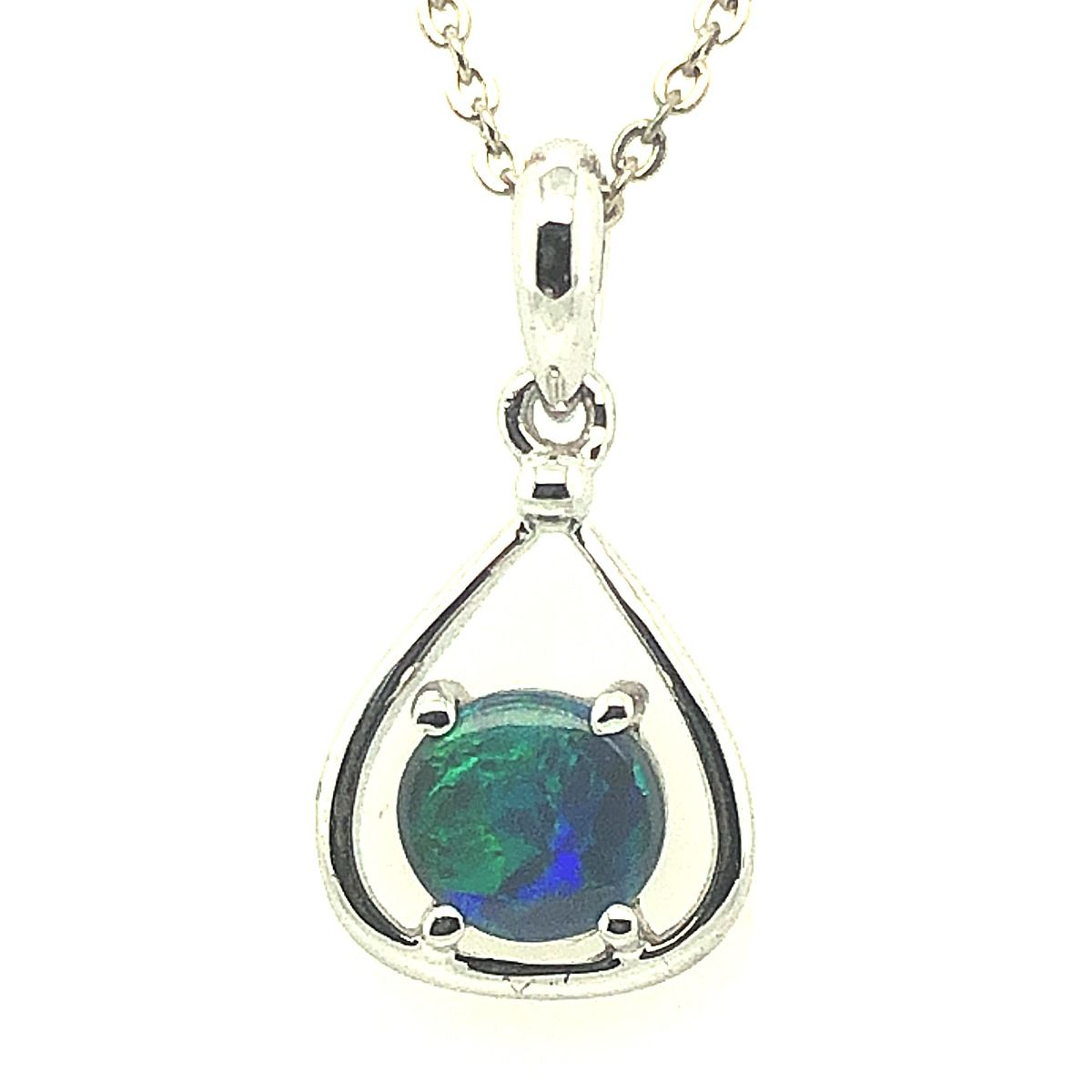 Sterling Silver Solid Black Opal Claw Set Pendant