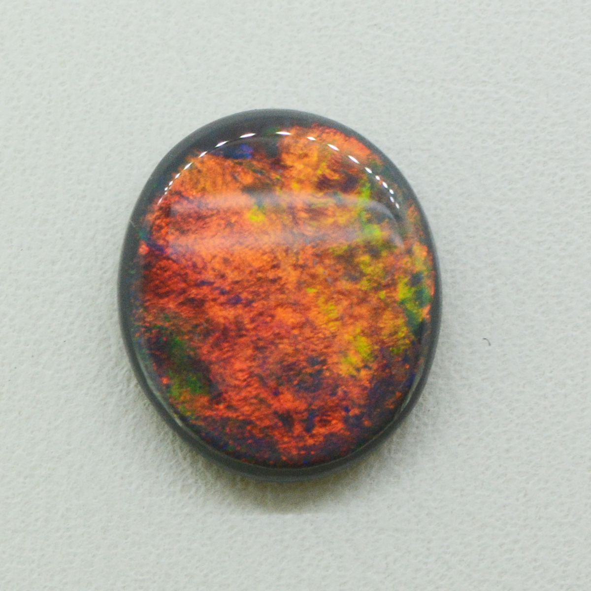 Lightning Ridge Solid Black Opal Stone with Red