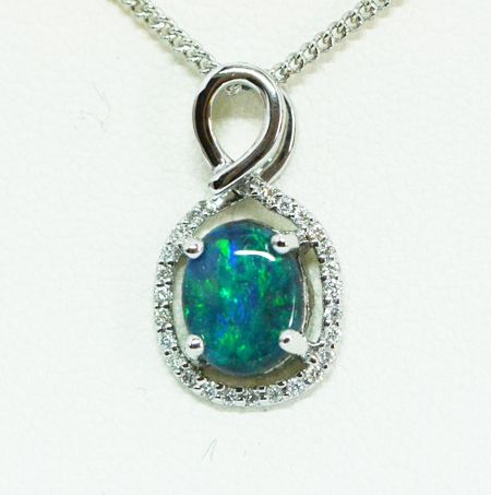 18ct White Gold Black Opal Pendant with 25 diamonds