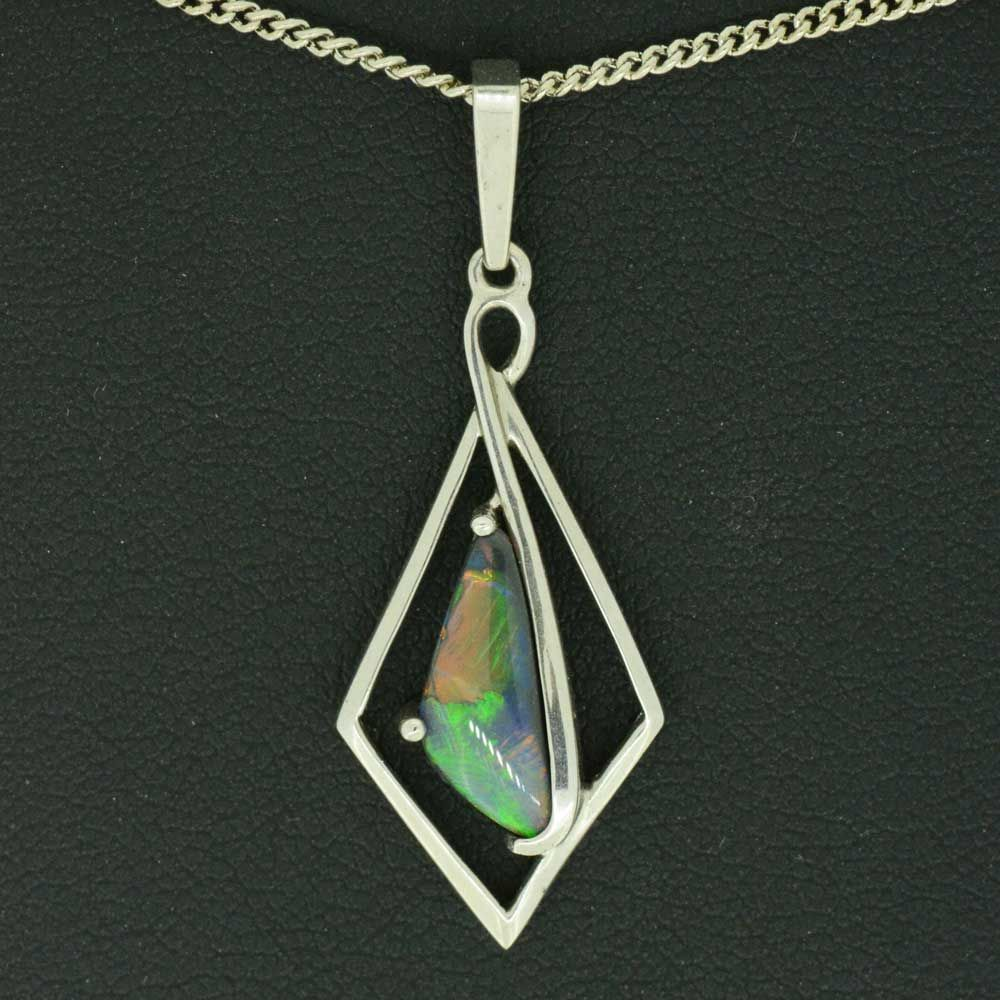 Sterling Silver Lightning Ridge Black Opal Pendant