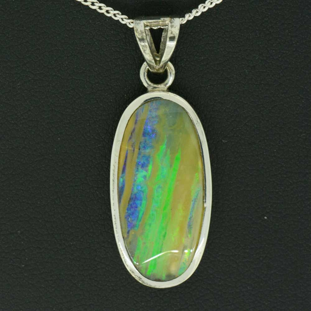 Queensland Boulder Opal Pendant Beazel Set In Sterling Silver