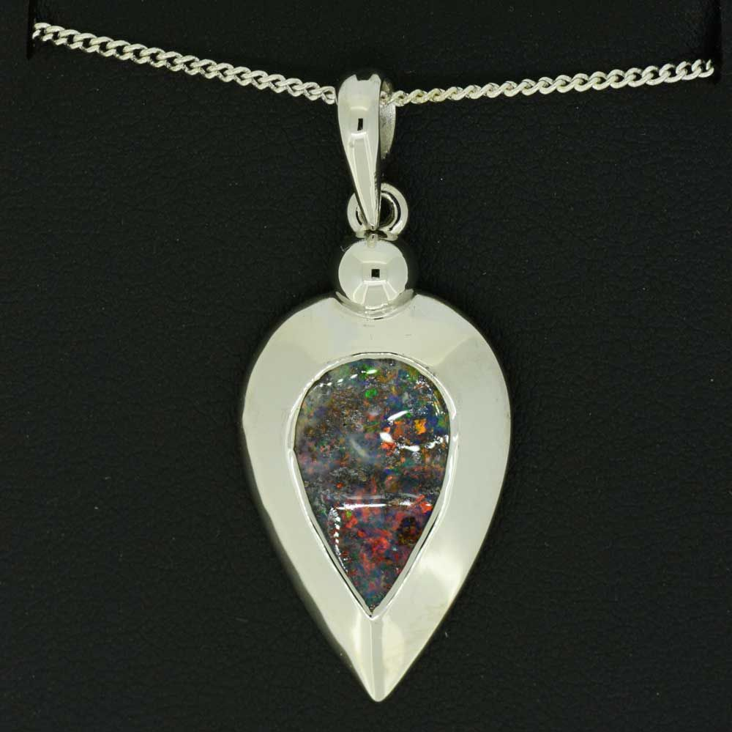 Tear drop Queensland boulder opal sterling silver pendant