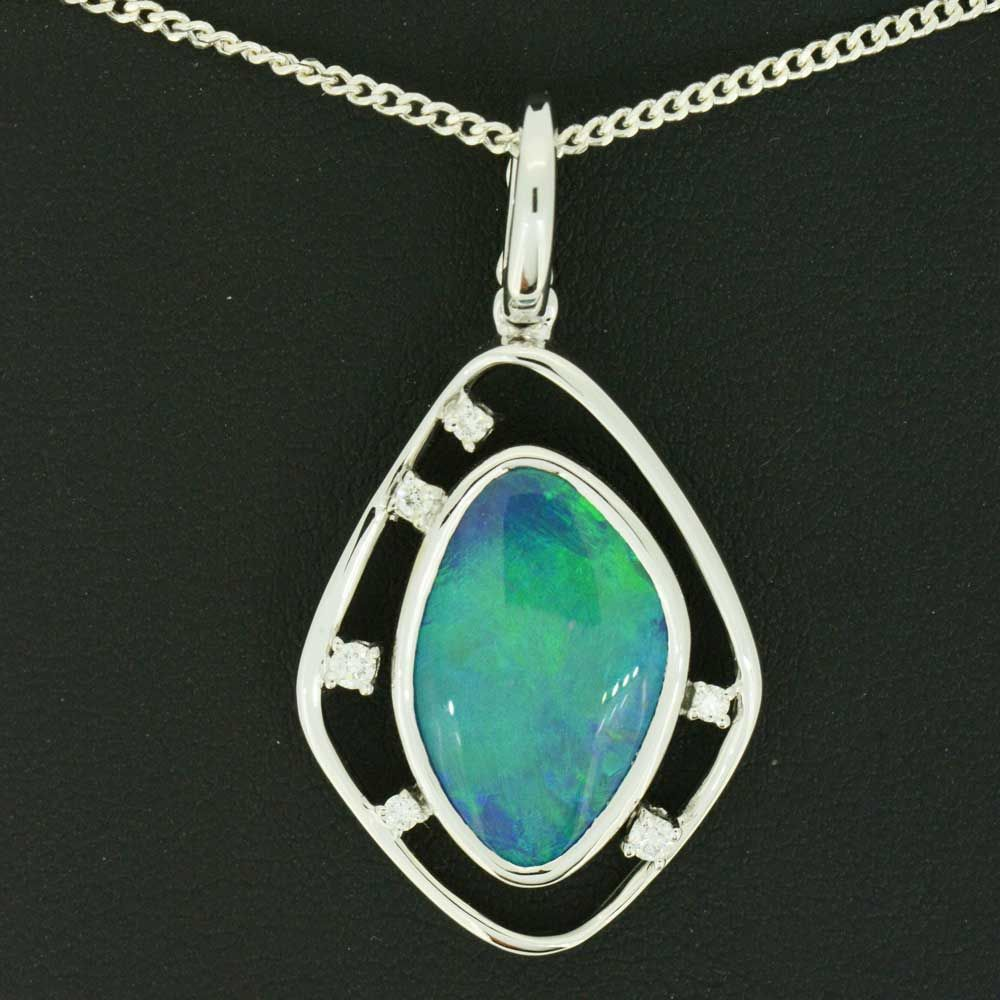 Black Opal pendant set in 18ct white gold