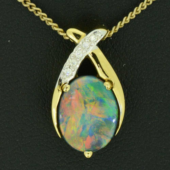 18ct Yellow Gold Black Opal Pendant with 5 diamonds