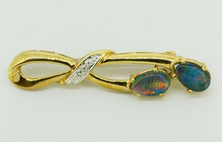 Irregularly Shaped 9ct Yellow Gold Triplet Opal Brooch with Diamonds